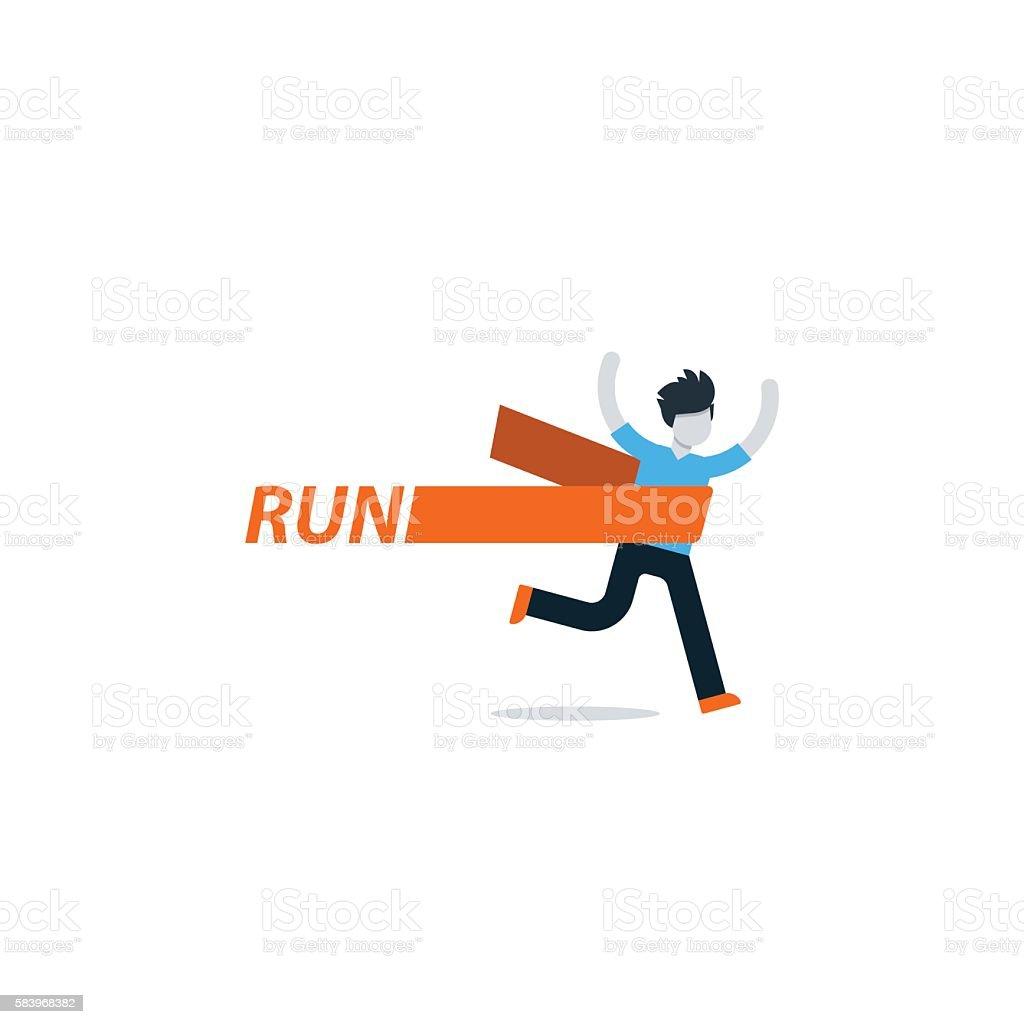 Running man, finish line, first winner vector art illustration