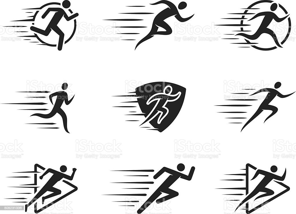 Running Man Icons with Motion Trails vector art illustration