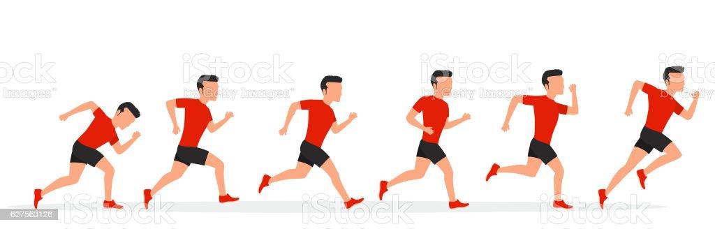 Running man in different positions. vector art illustration