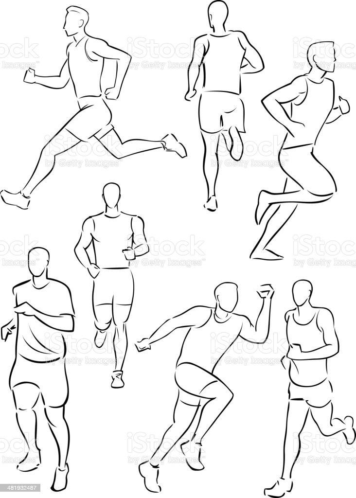 Running man jogging vector art illustration