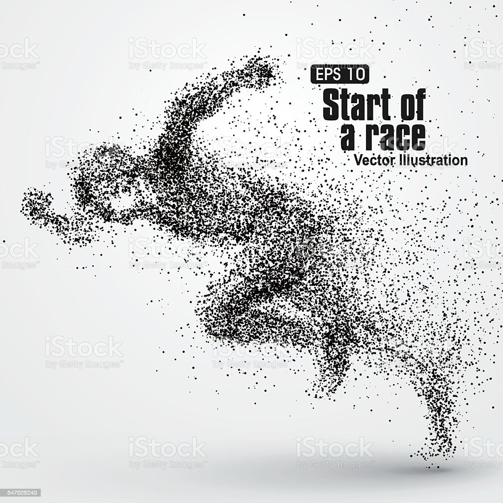 Running Man, particle divergent composition, vector illustration. vector art illustration