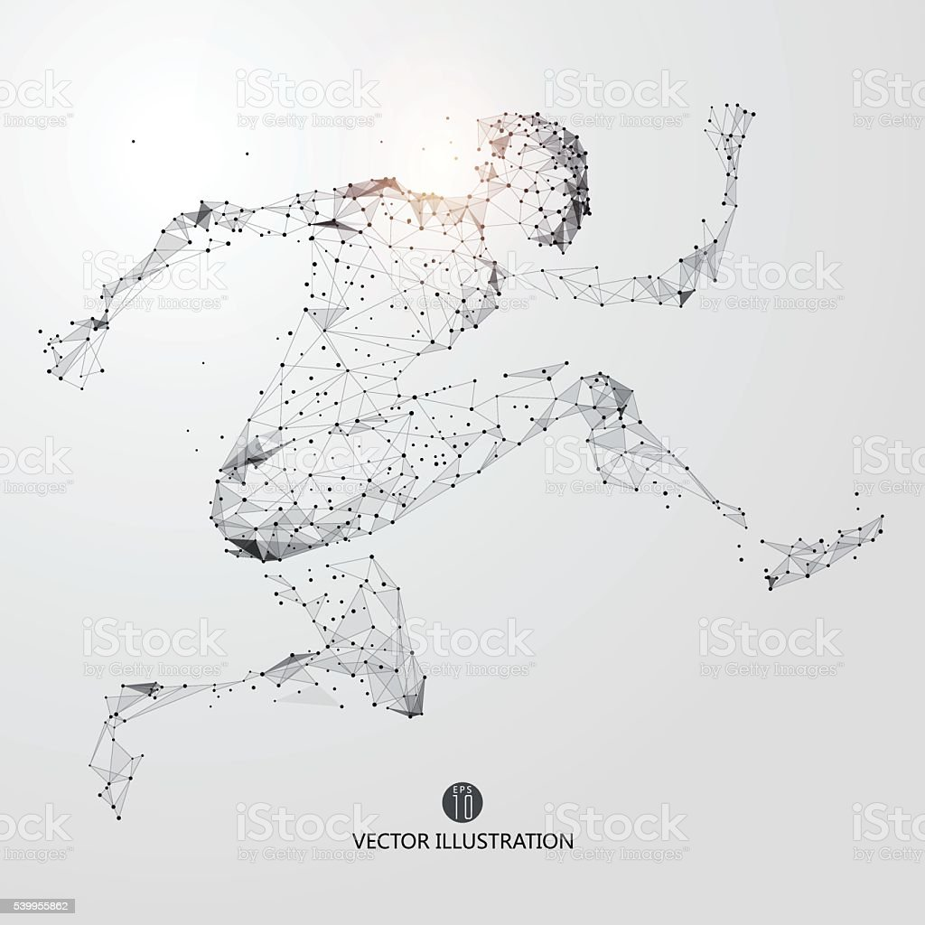 Running Man, points, lines and connected to form. vector art illustration