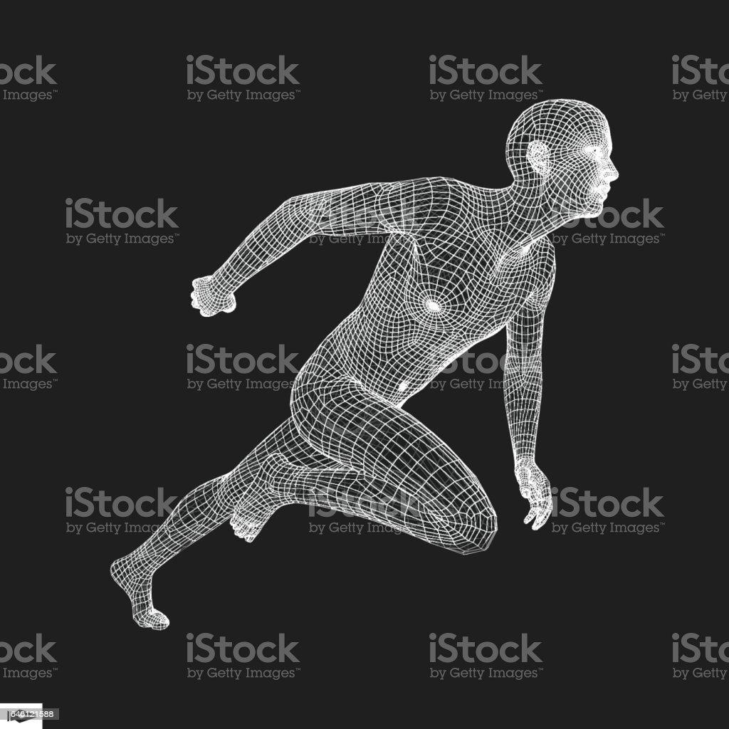 Running Man. Polygonal Design. 3D Model of Man. vector art illustration