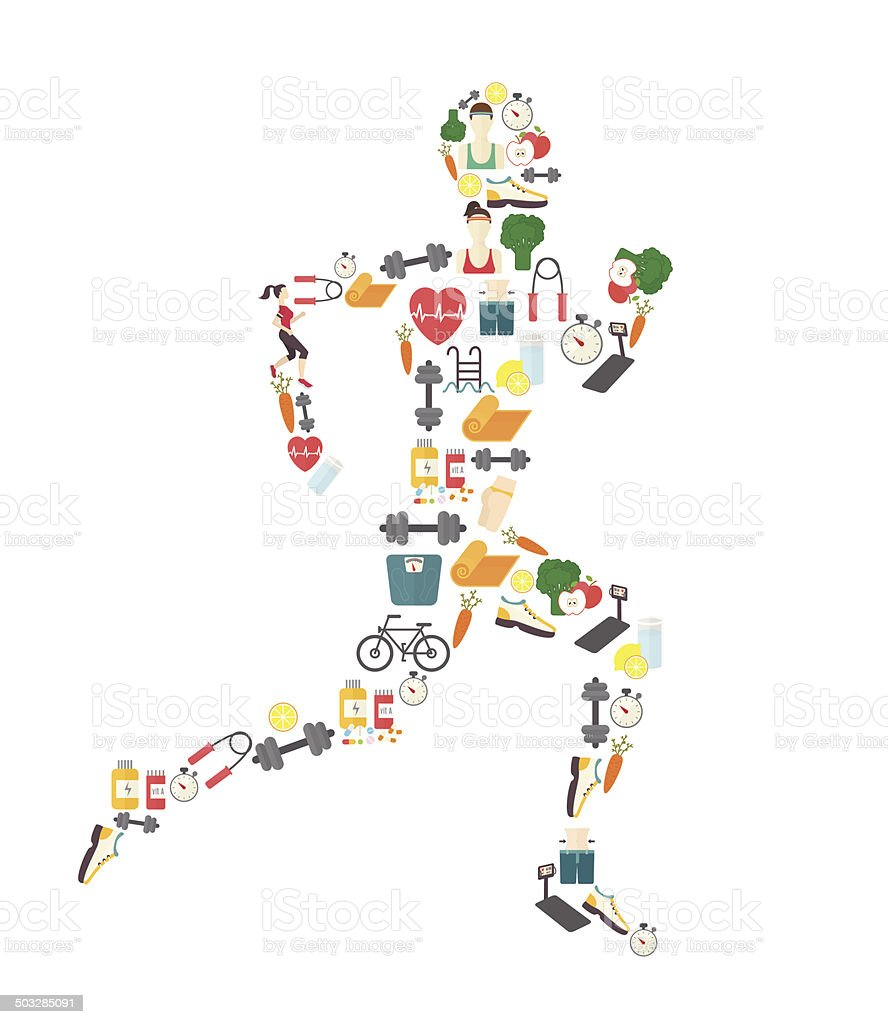 Running man silhouette filled with sport icons. Vector illustration on vector art illustration