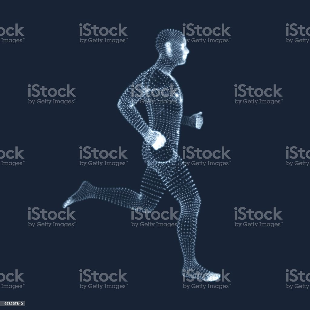 Running Man. Vector Graphics Composed of Particles. 3D Model of Man. vector art illustration