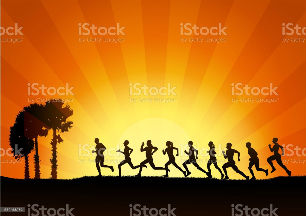 Running , Marathon, on sunset background, graphic. vector art illustration