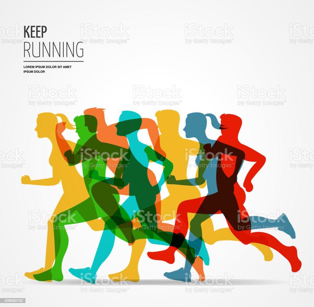 Running marathon, people run, colorful poster vector art illustration