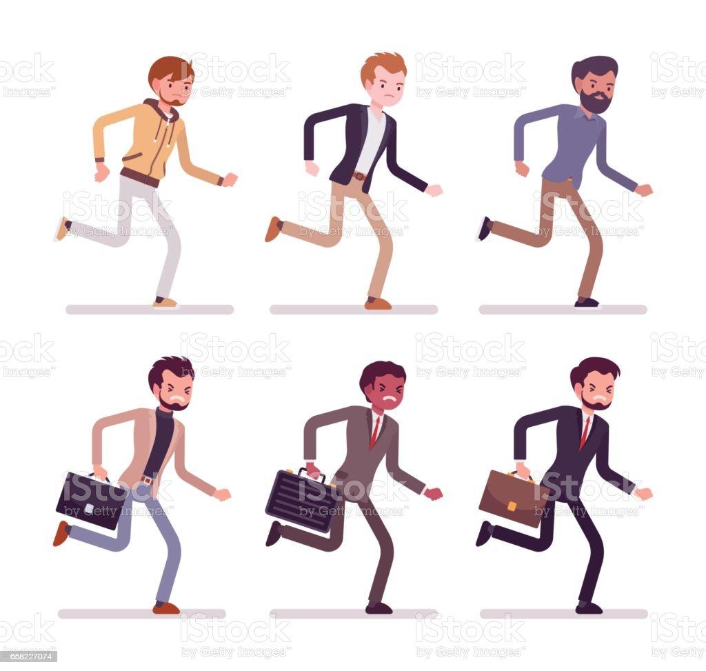 Running men in formal and casual wear vector art illustration