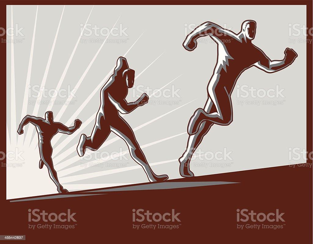 Running Men Silhouette Retro vector art illustration