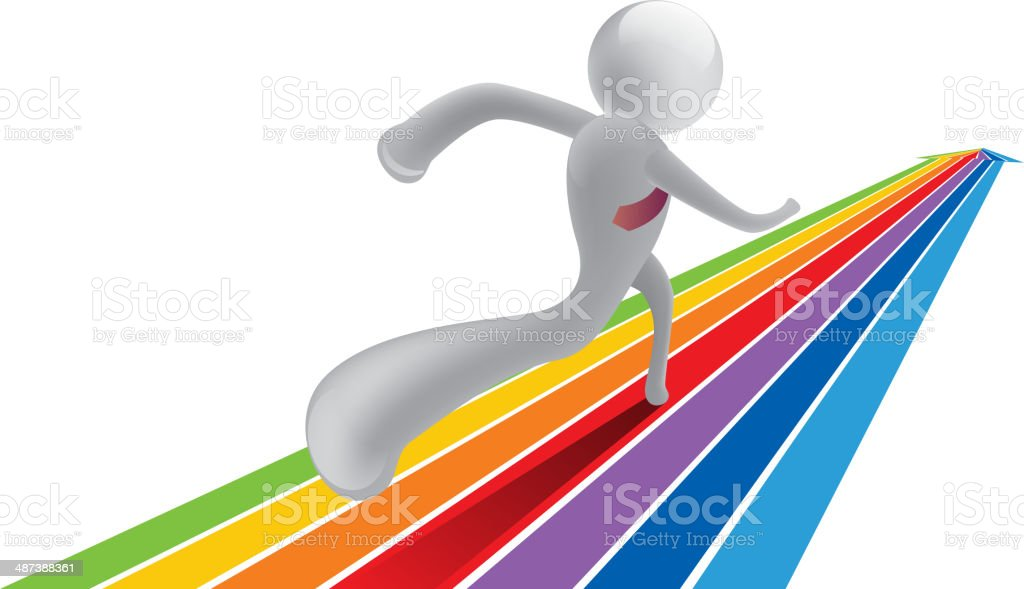 Running on rainbow arrow vector art illustration