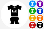 Running Outfit Icon on Flat Color Circle Buttons