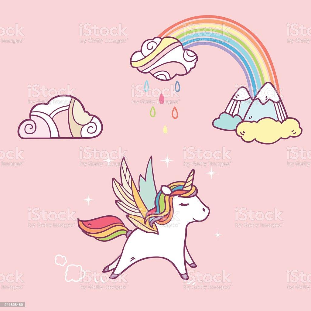 running pegasus in the sky vector art illustration