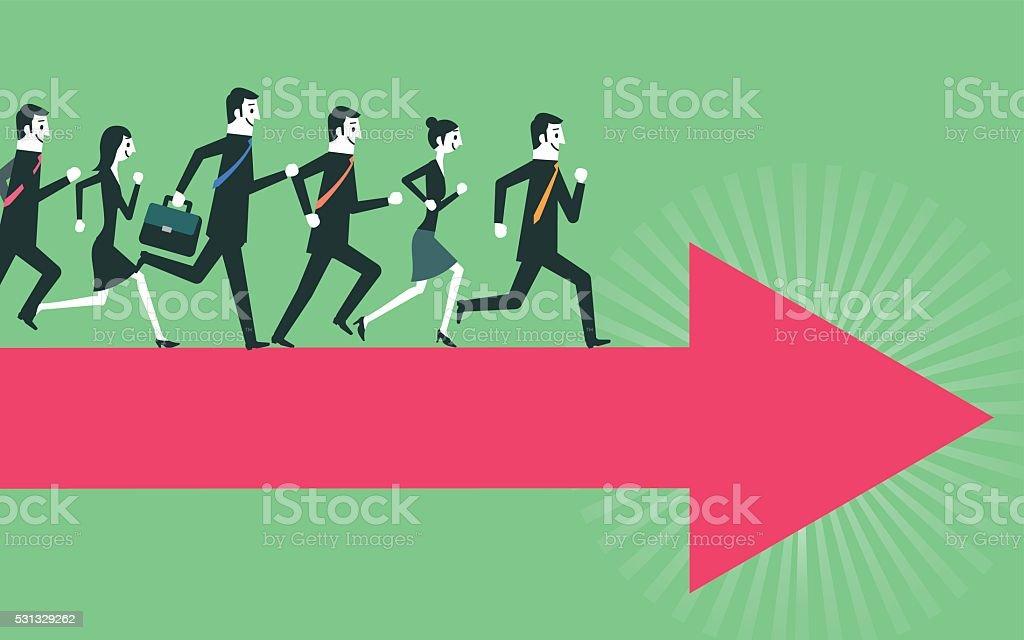 running people on arrow vector art illustration