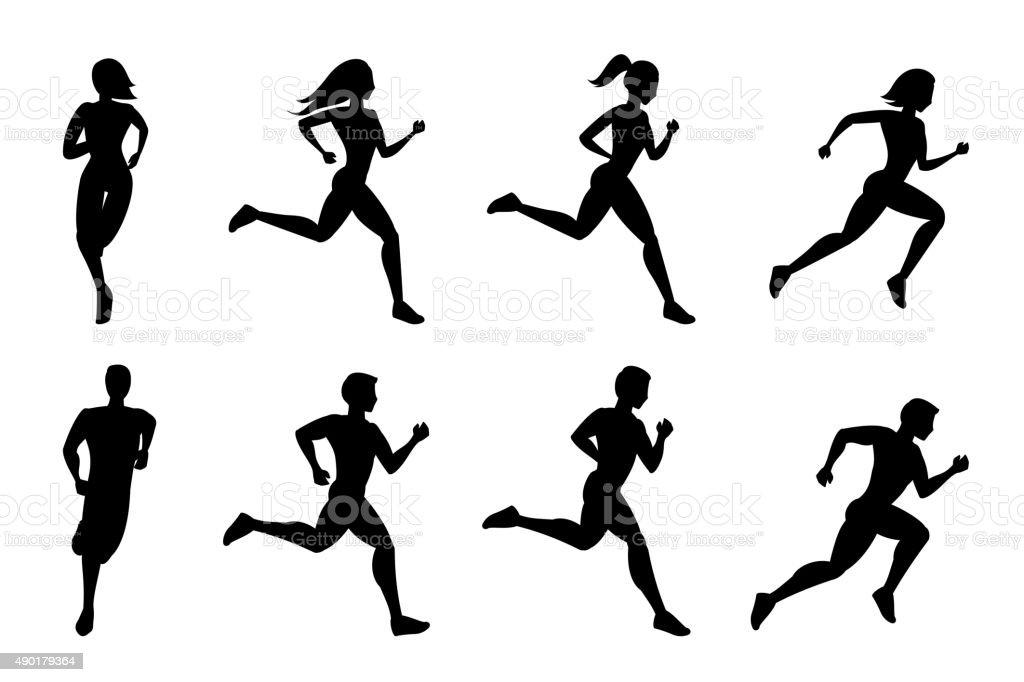 Running people silhouettes vector art illustration