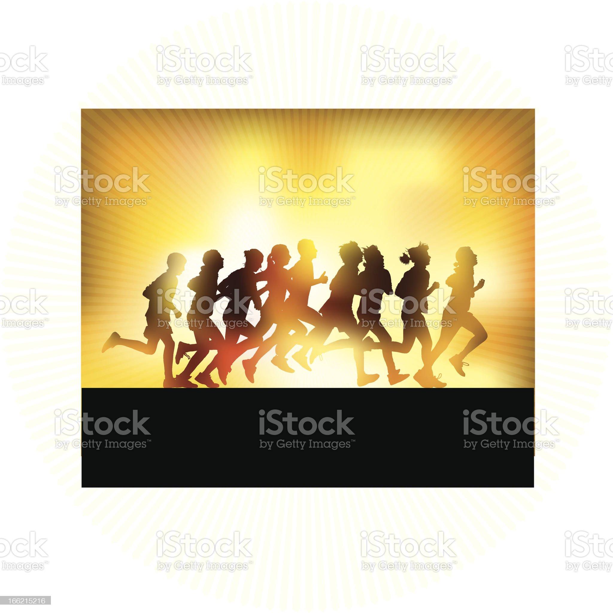 Running people royalty-free stock vector art