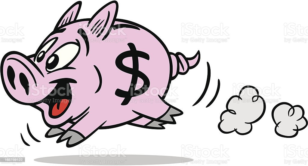 Running Piggy Bank royalty-free stock vector art