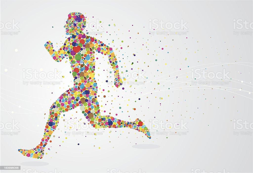 Running pixel man vector art illustration