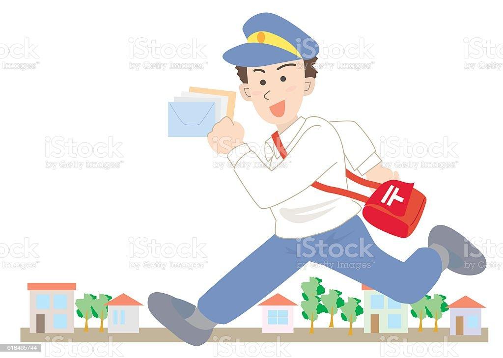 Running Postman vector art illustration