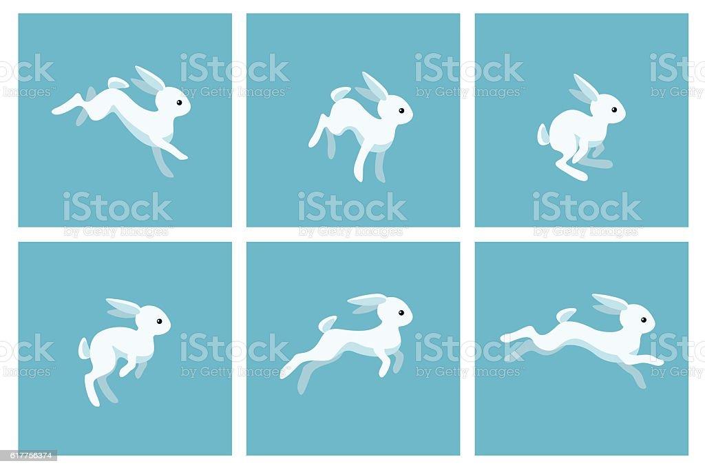 Running rabbit animation sprite vector art illustration