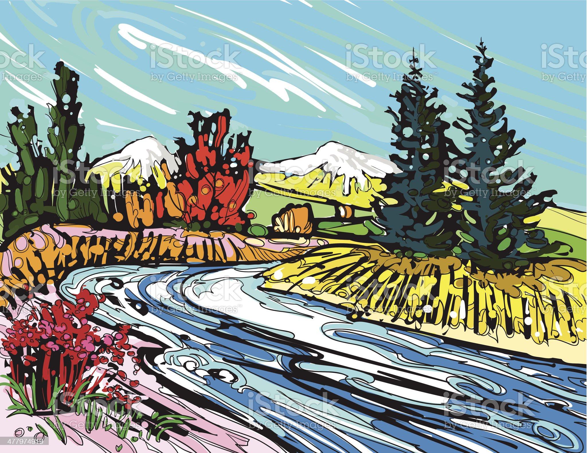 Running river royalty-free stock vector art