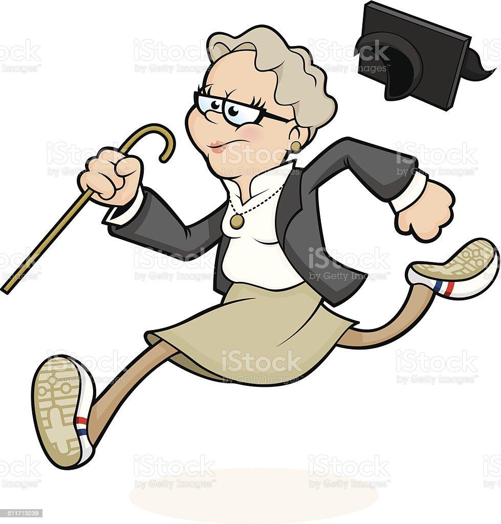 Running School Head / Headmistress vector art illustration