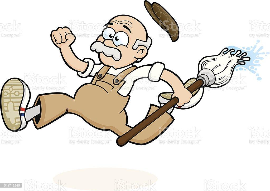 Running School Janitor / Caretaker vector art illustration