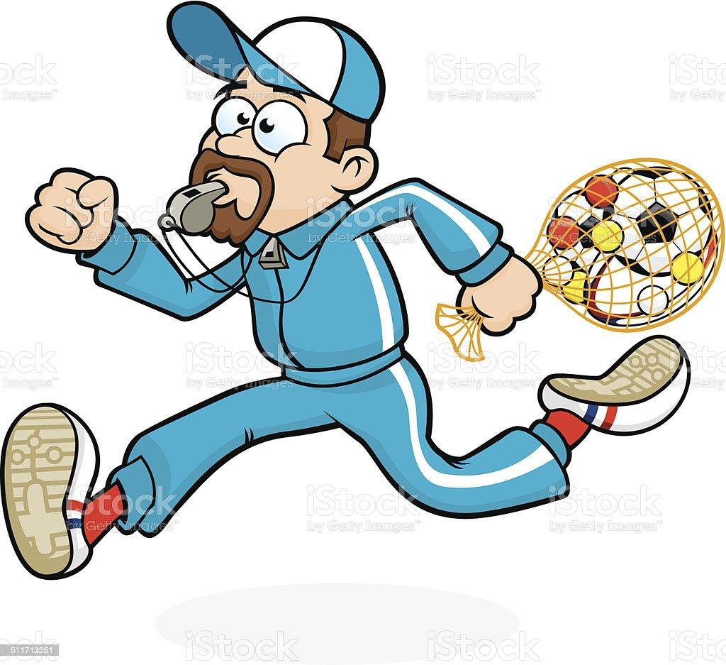 Running School Sports / PE Teacher vector art illustration