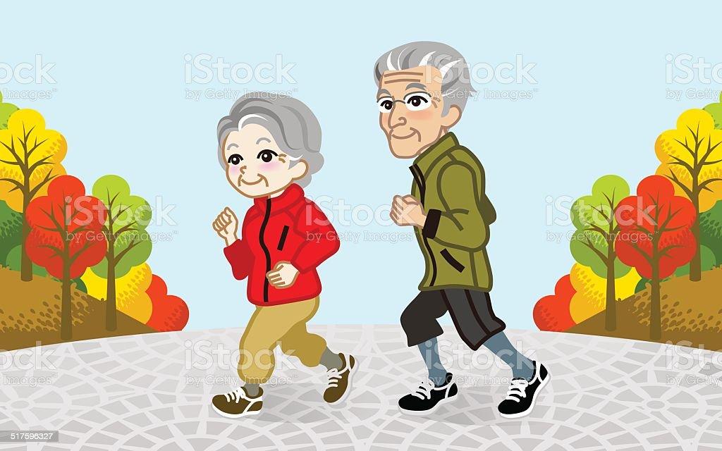 Running Senior Couple in the Autumn park-EPS10 vector art illustration