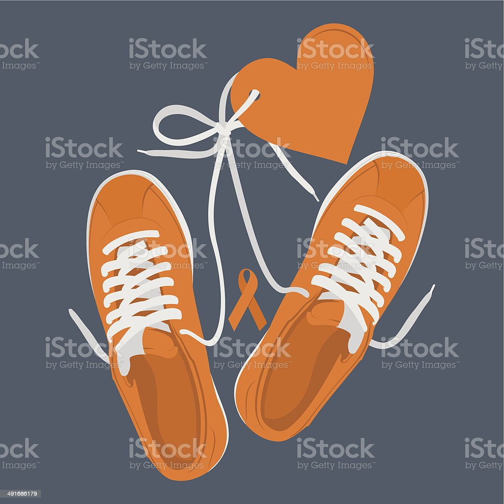 Running shoes run for cure vector art illustration
