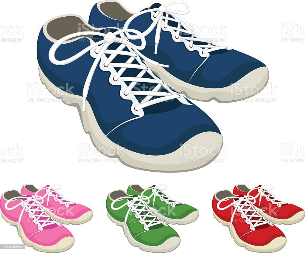 Running Shoes vector art illustration
