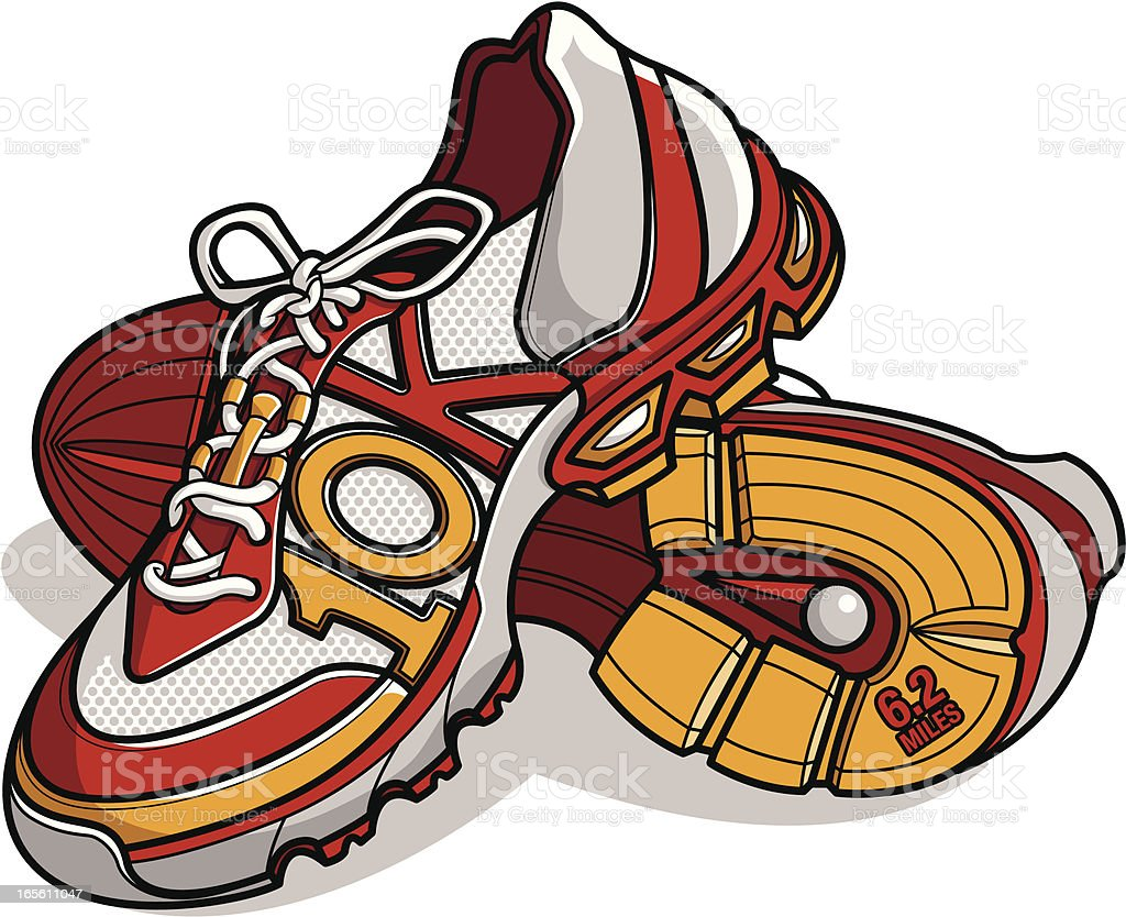 Running shoes with 10k distance as the stitching royalty-free stock vector art