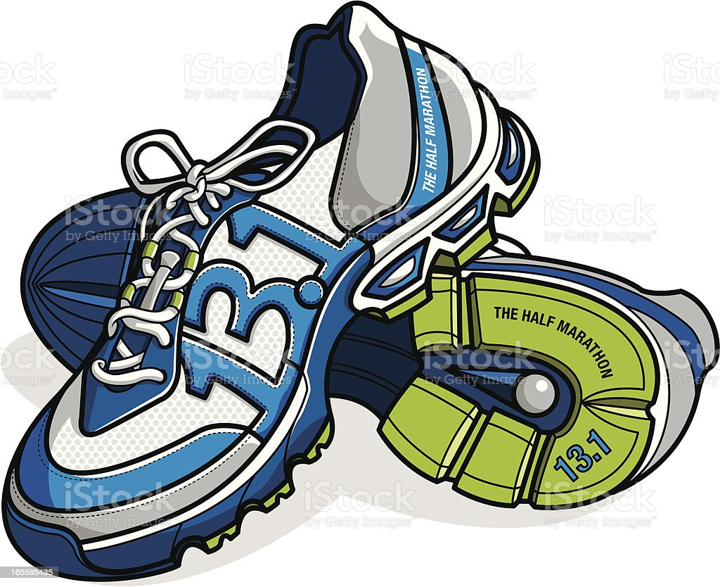 running shoes with 13.1 mile distance as stitching royalty-free stock vector art