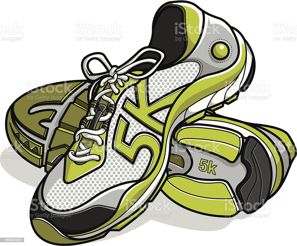 running shoes with 5k as stitching vector art illustration