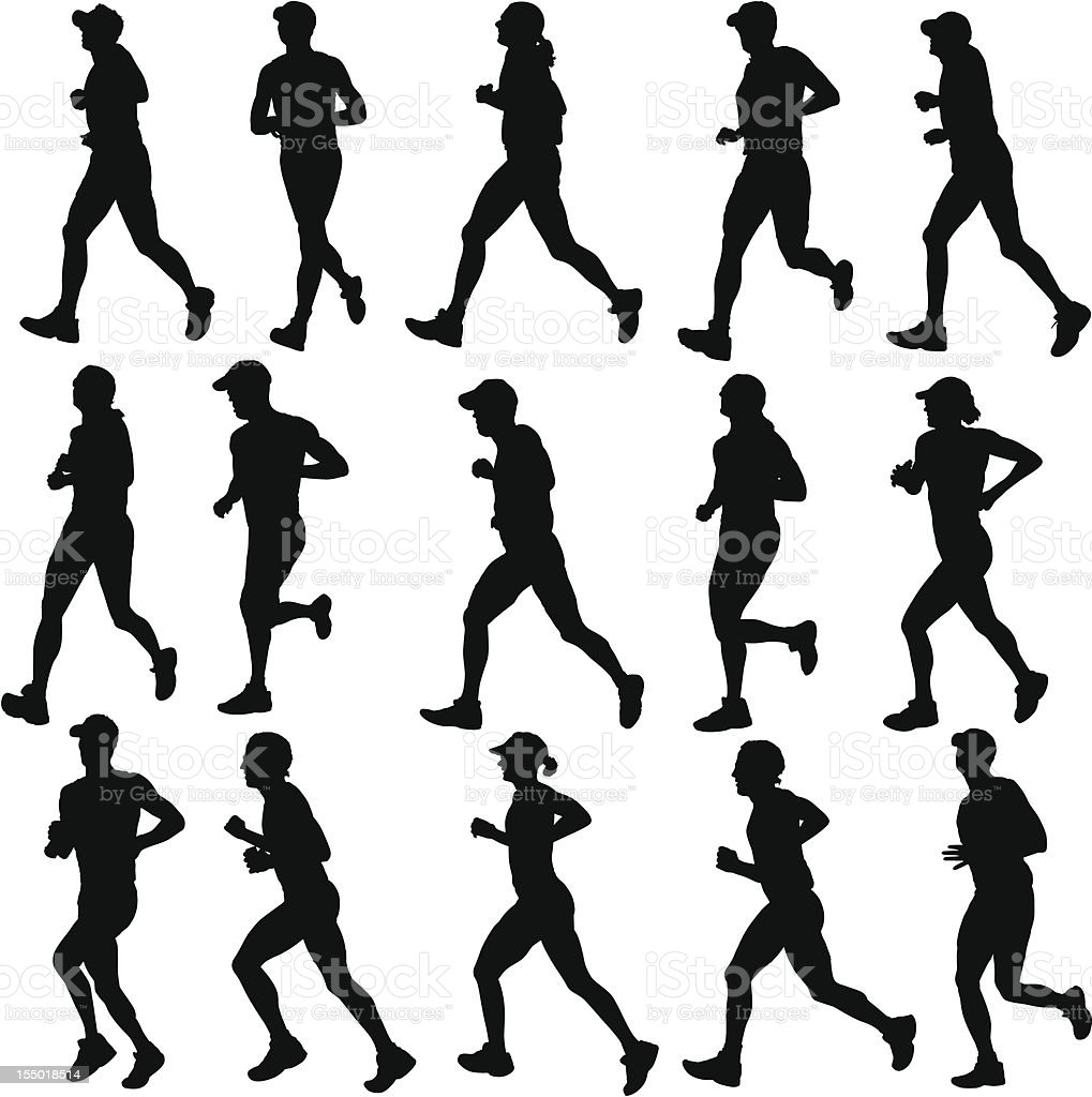 Running Silhouettes royalty-free stock vector art