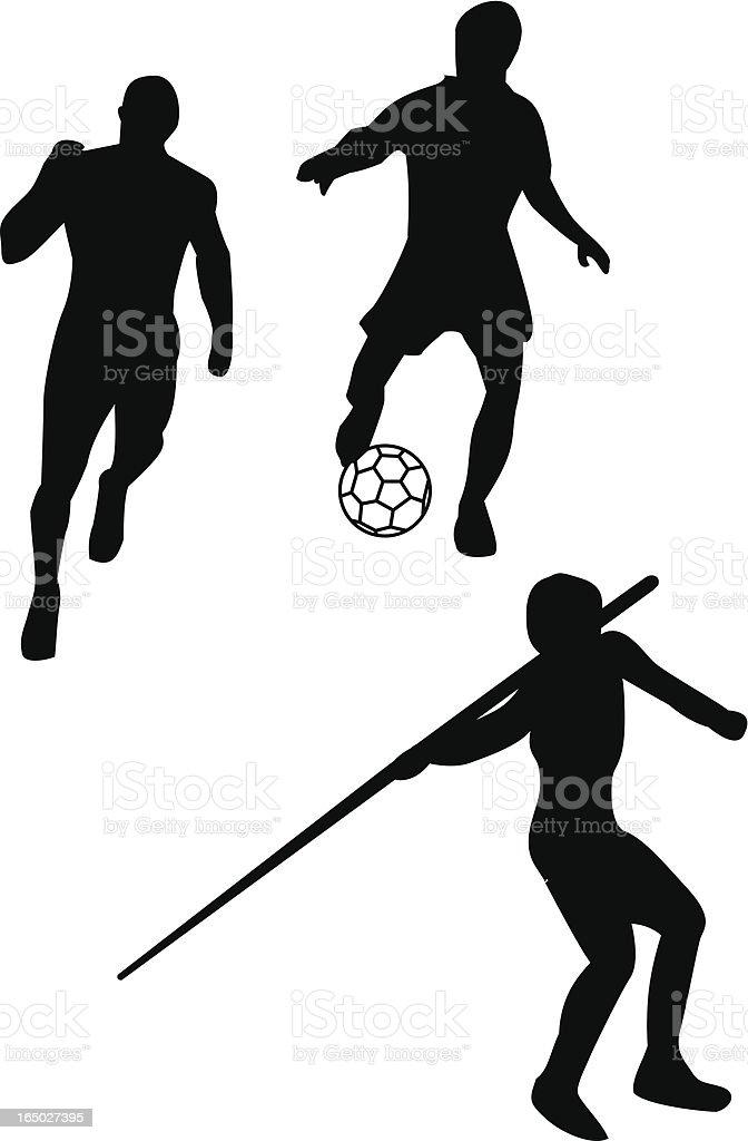 Running, soccer and Javelin vector art illustration
