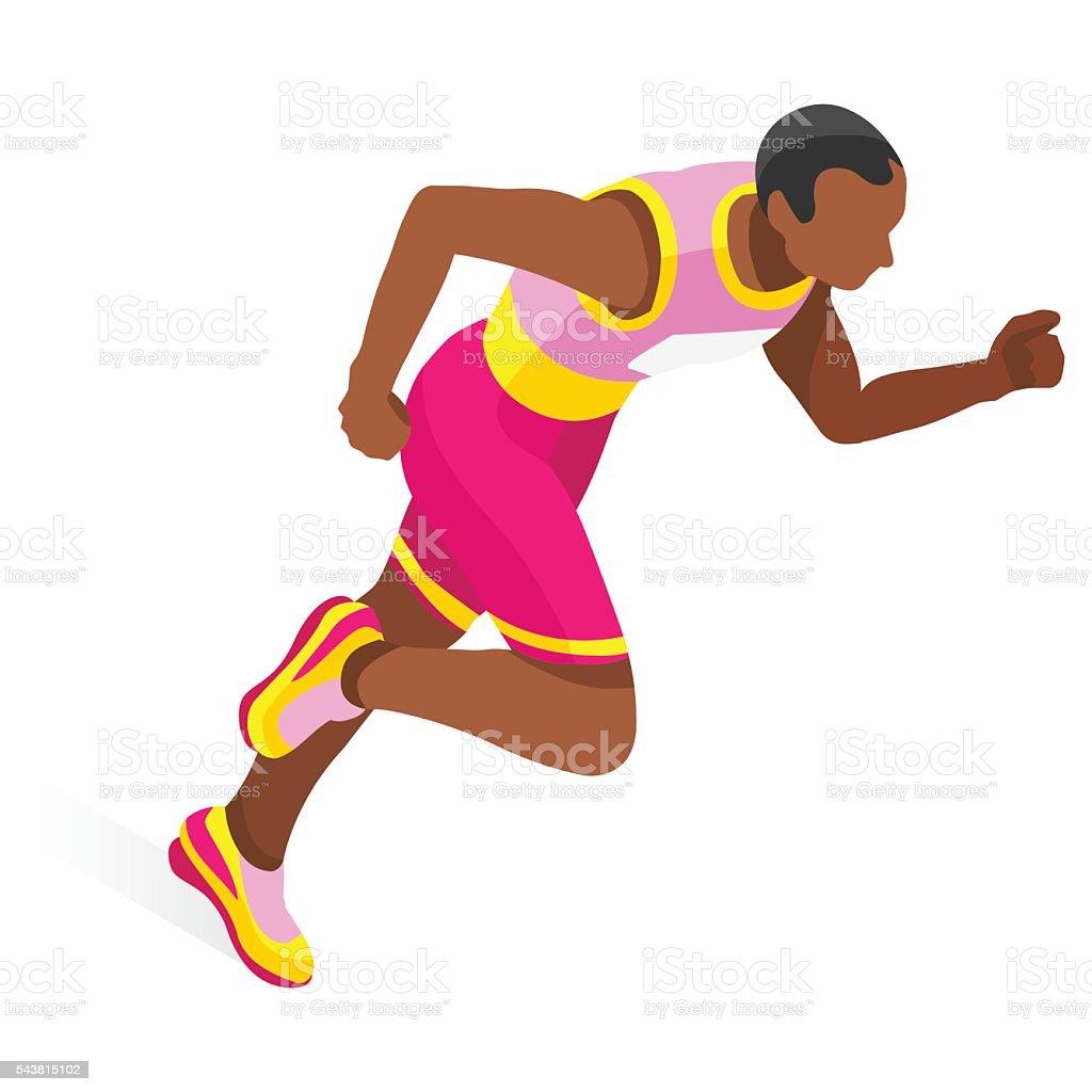 Running  Sports 3D Isometric Vector Illustration vector art illustration