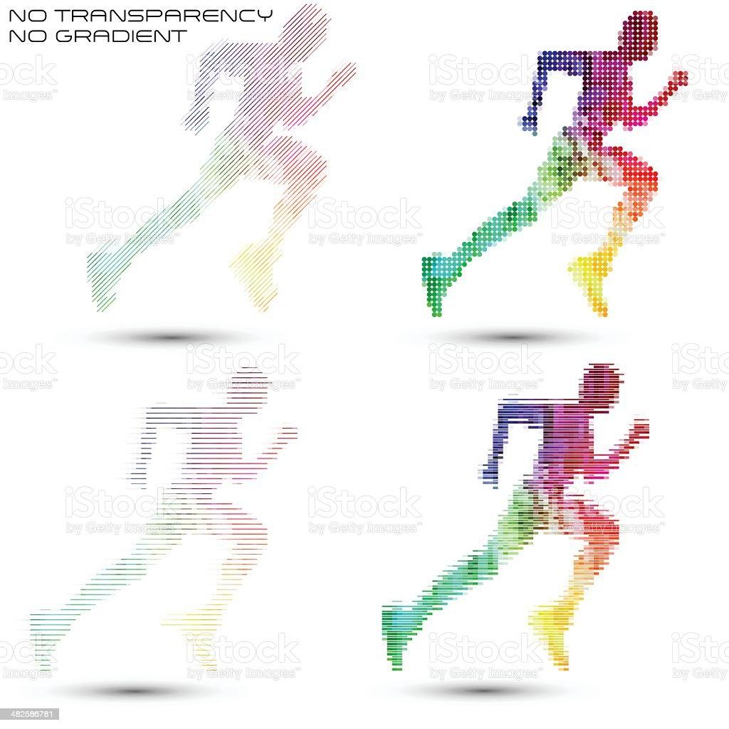 Running sportsman, pixel work vector illustrations vector art illustration