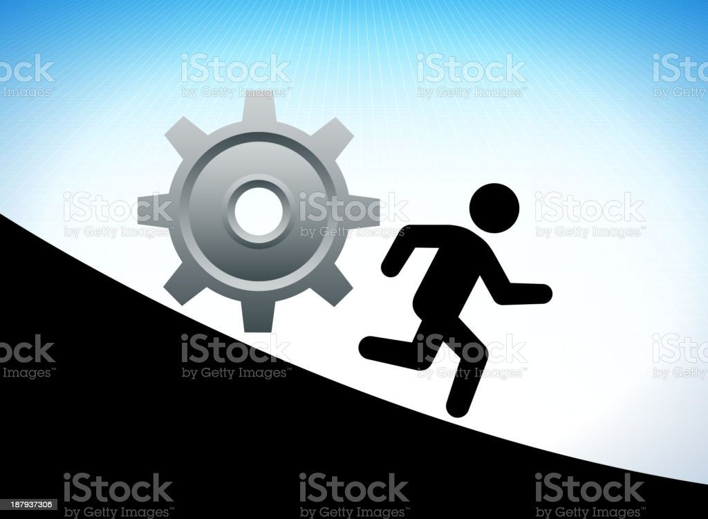 Running Stick Figure with Gear on Grid Background royalty-free stock vector art