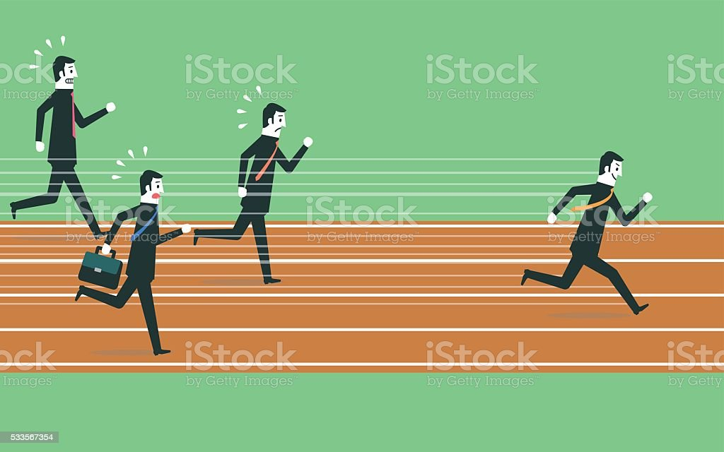 Running to success vector art illustration