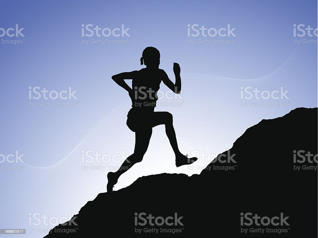 Running to the Top royalty-free stock vector art
