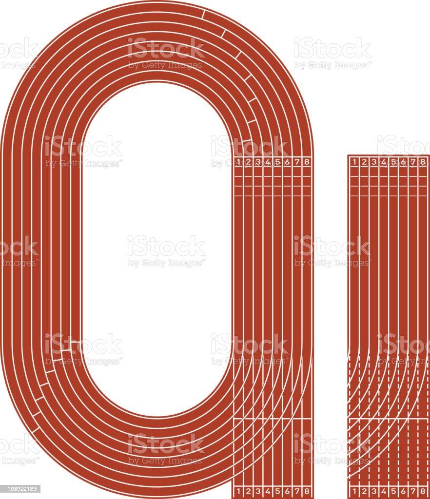 Running track vector art illustration