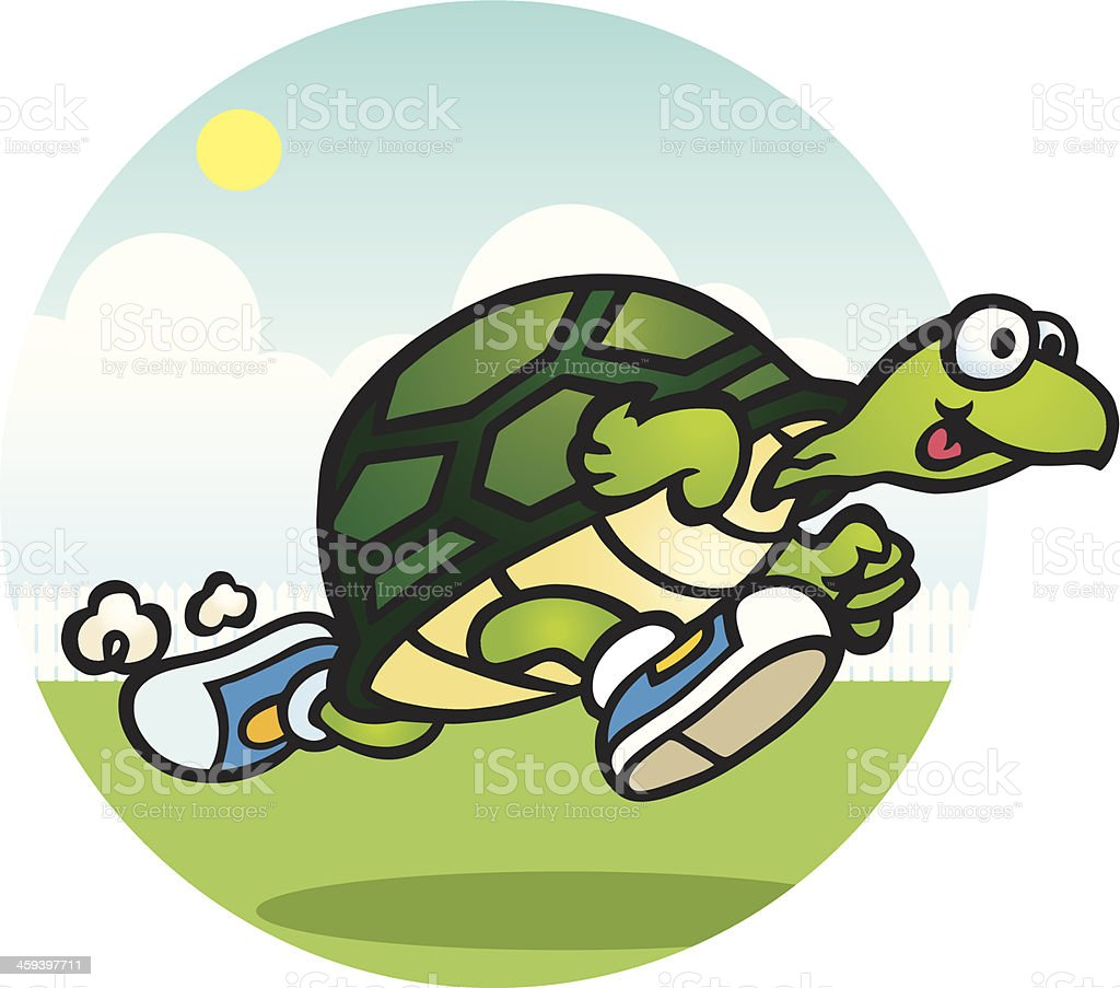 Running Turtle vector art illustration