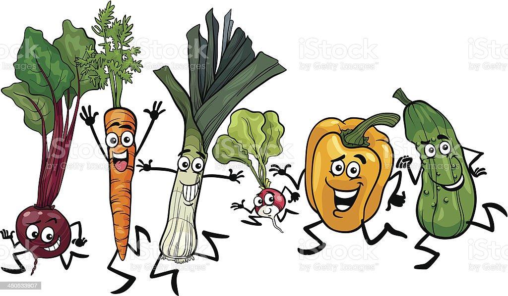 running vegetables cartoon illustration royalty-free stock vector art