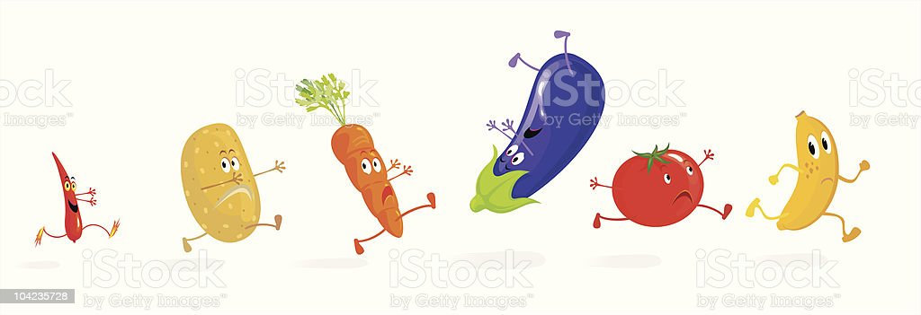 Running Vegetables royalty-free stock vector art