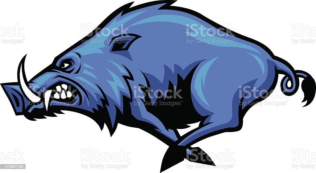 Running wild hog mascot vector art illustration