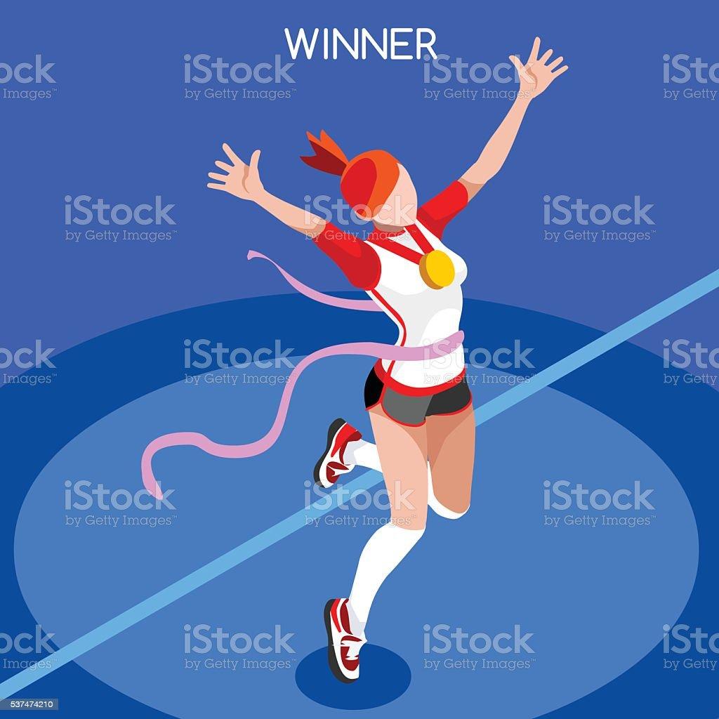 Running Winner Isometric Athlete Winning Runner Sport Concept International Competition vector art illustration