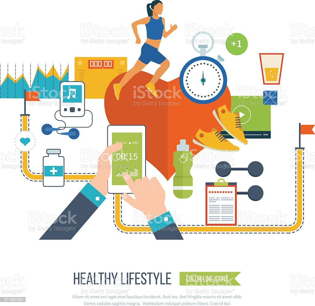 Running woman. Healthy lifestyle and fitness concept. vector art illustration