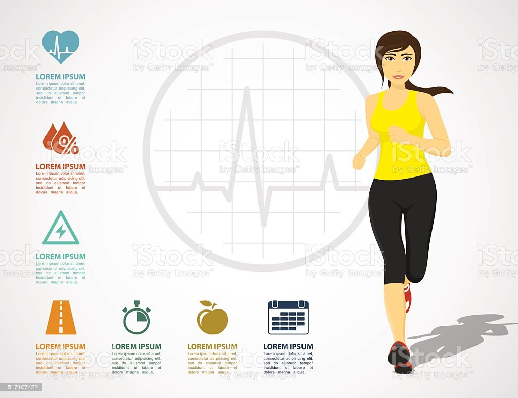 running woman infographic vector art illustration