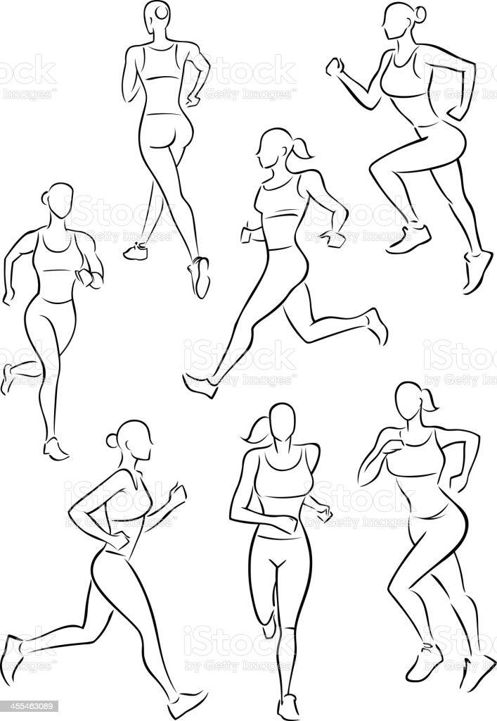 Running woman jogging vector art illustration
