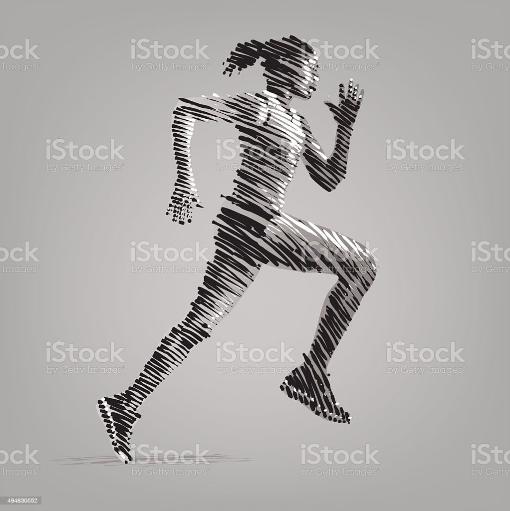 Running woman. Vector artwork in the style of ink drawing. vector art illustration